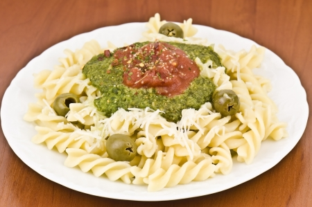 delicious pasta dish in the photo photo