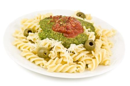 pasta dish: pasta dish on white background