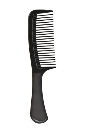 plastic comb: black comb on white background Stock Photo