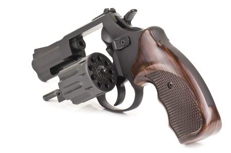 black revolver on white background photo