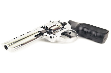 silver revolver on white background Stock Photo - 18733300