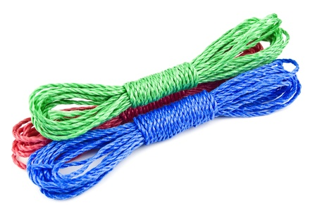 red green blue rope on white photo