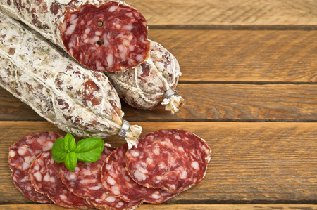 sliced sausage,salami  in the photo photo