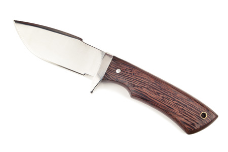 sharp hunting knife on white photo