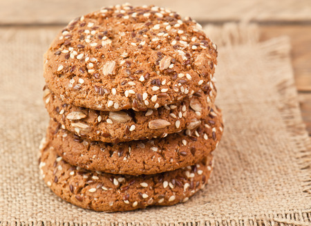 stack of delisious oatmeal cookies photo