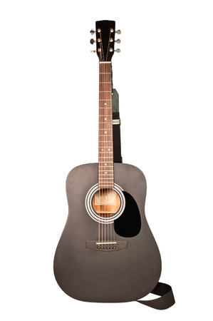 black acoustic guitar on white photo