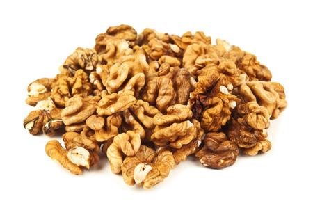 Tas de noix pelées sur backckground blanc Banque d'images - 36672803