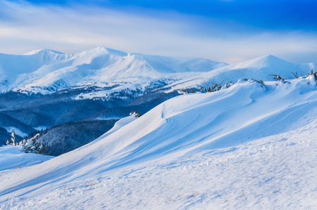 outdoor glamour: snow drift in high mountain Stock Photo