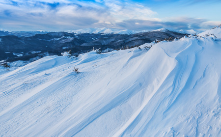 snow drift: snow drift in high winter mountain