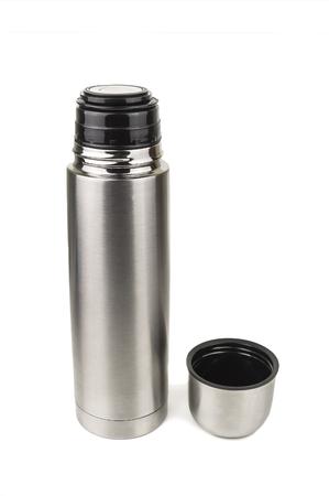 thermos: silver metallic thermos on white background Stock Photo