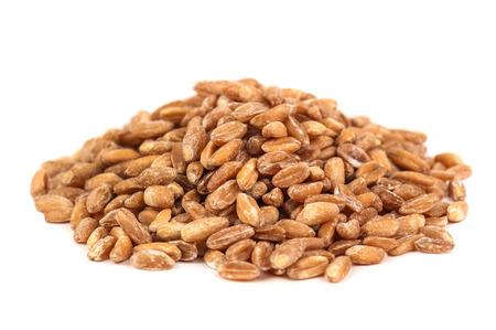 heap: heap of ripe wheat on white background Stock Photo