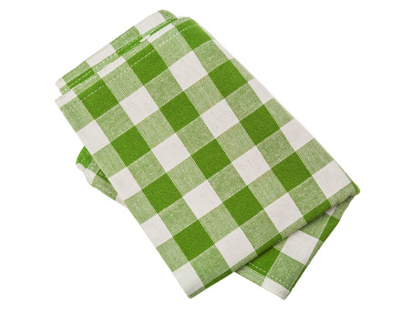 green checkered napkin on white background