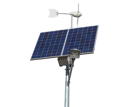 breaking new ground: solar panel and windmill on white background Stock Photo