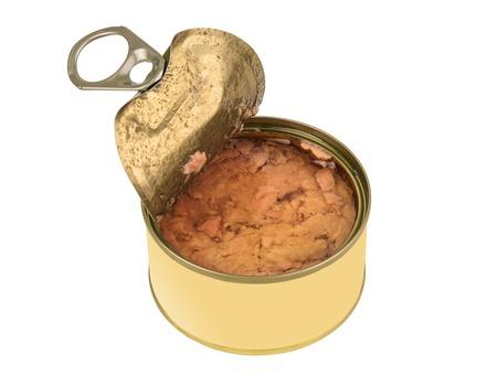 tunafish: open tin of tuna on white background