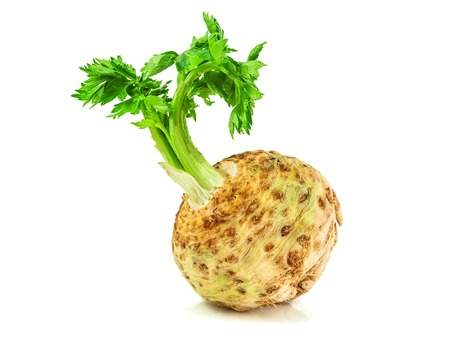 plant roots: raw celery root on white background
