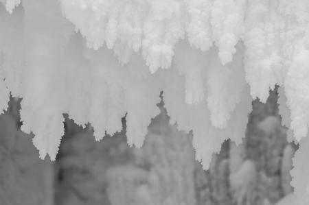 stalactites: snow stalactites as a texture Stock Photo