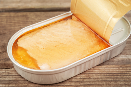 tunafish: open tin with delicious salmon Stock Photo