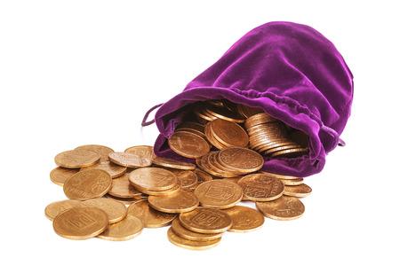 ukranian: heap of ukranian coins (called hryvna) and purple pouch on white background