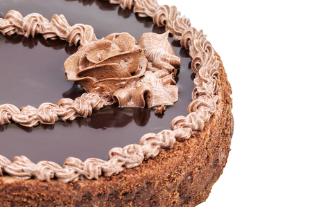 chocolaty: delicious chocolate cake on white background