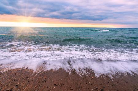 beautiful sunrise over the summer sea Stock Photo
