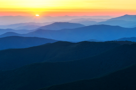 beautiful sunset in high mountains Stock Photo