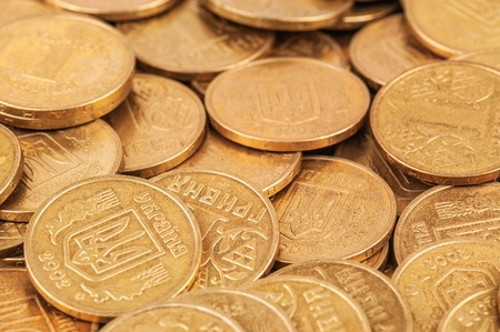 ukranian: ukranian coins (called hryvna ) as a texture Stock Photo