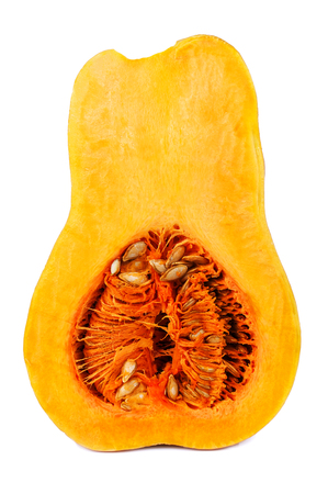 half part of ripe pumpkin isolated on white