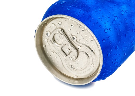aluminium can: Cold aluminium can. Soda water. Sweet cola on white background