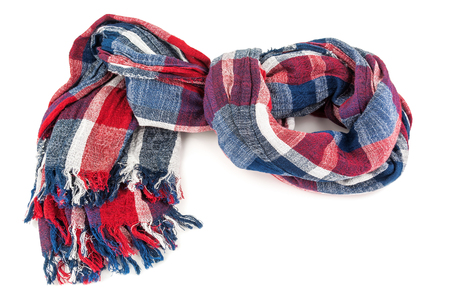 colored warm scarf on white background