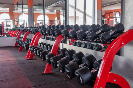 barbel: row of dumbbells in the gym Stock Photo