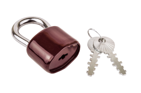 solid brown padlock with keys isolated on white