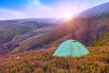 mountain, tent, autumn Stock Photo