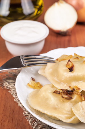delicious dumplings (varenyky) and sour cream