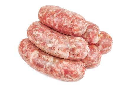 raw italian sausage (salcici) isolated on white Stock Photo