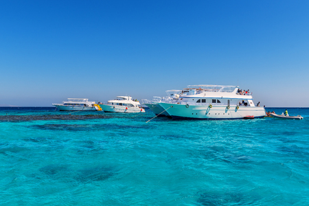 Three luxurious yacht at blue sea.Vacation time