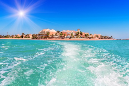 Trail on the water from the boat. El gouna. Egypt Stock Photo - 86621654