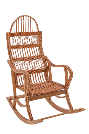 Wicker rocking-chair isolated on white