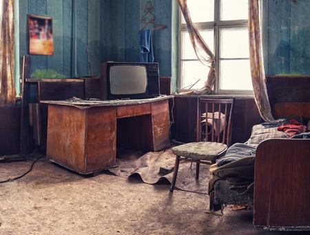 old abandoned room with vintage things
