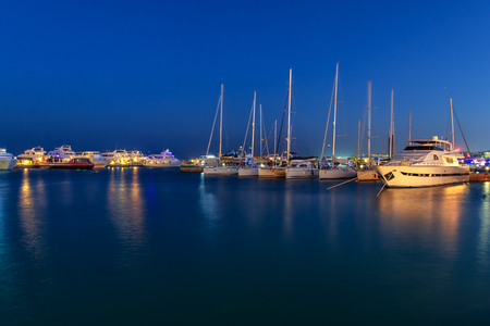 beautiful landscape with luxury yachts in the bay