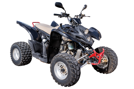 black sport quadbike isolated on white Banco de Imagens
