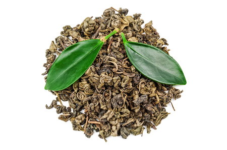 heap of green tea with leaves isolated on white Stock Photo