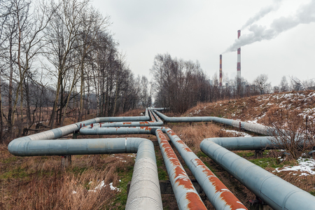 industrial pipeline and factory pipe with smoke