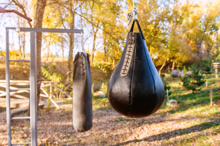 two black boxing bag in the autumn park Stock fotó