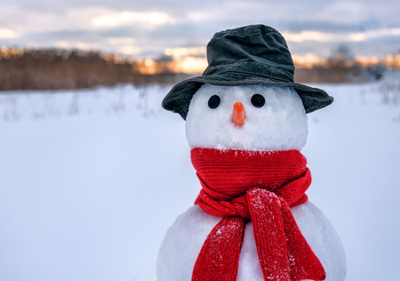 portrait of snowman with red scarf and hat