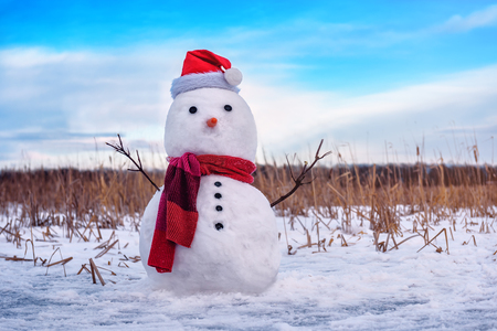snowman in red santas hat and red scarf Banque d'images - 126388274