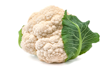 head of cauliflower isolated on white