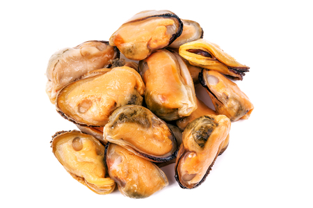 pickled mussels isolated on white Imagens