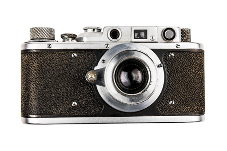 old vintage retro camera isolated on white