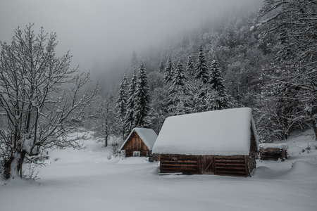 two snov-covered cabins in snowdrift in Carpathian forest
