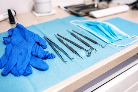 Row of various dental tools (instruments)